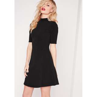 Missguided - Ribbed A-line Skater Dress Black