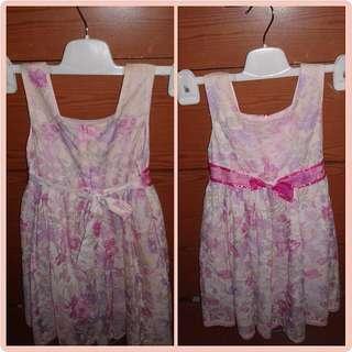 ☆ TURUN HARGA!!Rp.40 ribu》Rp.30 ribu.Gaun Pesta Bunga-Bunga Pink untuk Anak ☆