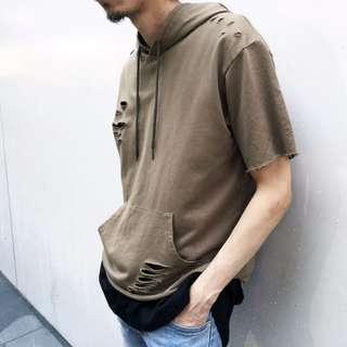 前短後長破壞短袖帽T 韓國帶回 正韓商品