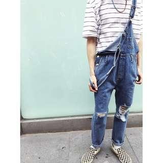 牛仔連身吊帶褲 正韓商品 現貨發售
