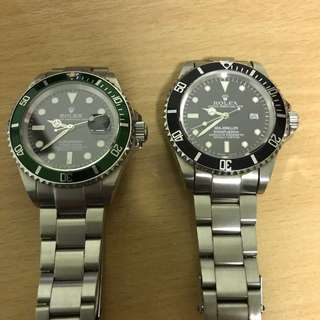 Pair Of Replica Watches (Green Face Sold)