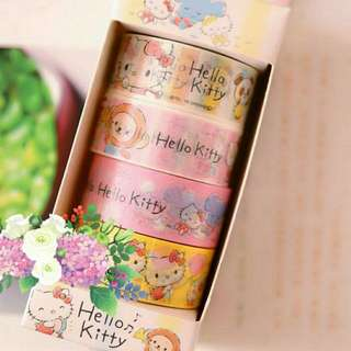 Hello Kitty 4 Tapes Set Decorative Washi Masking Sticky Tape Decorate Decor Sticker Scotch Tape Scrapbook Calendar Planner Diary Party Envelope Greeting Card Colour Cute Cartoon Hello Kitty Friends Monkey Panda Animal Colourful Pink Yellow Blue White