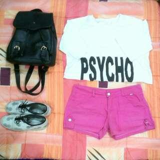 Psycho crop top & Pink soft denim shorts