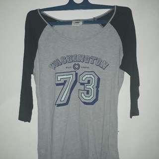 Kaos Lengan Panjang (7/8) Cotton On Baju Top Tshirt Abu