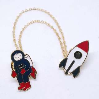 Astronaut - Rocket Enamel Pins
