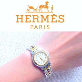 AUTHENTIC HERMES Gold Plated /Stainless Steel Clipper Watch 24 mm