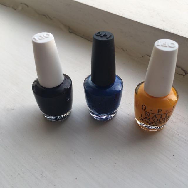 3 Mini OPI Nail polishes
