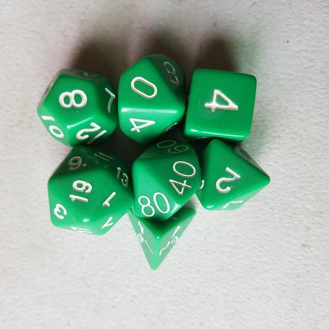 7 Piece Gaming Dice - Green, White Numbers