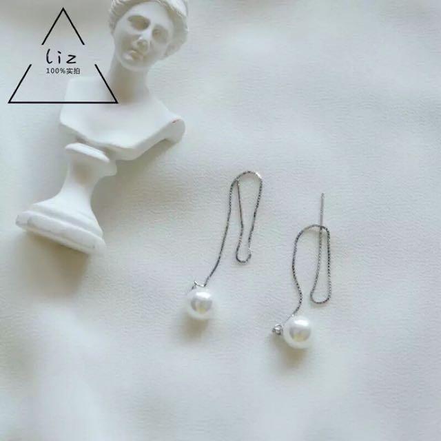925純銀多ways珍珠長耳環耳線