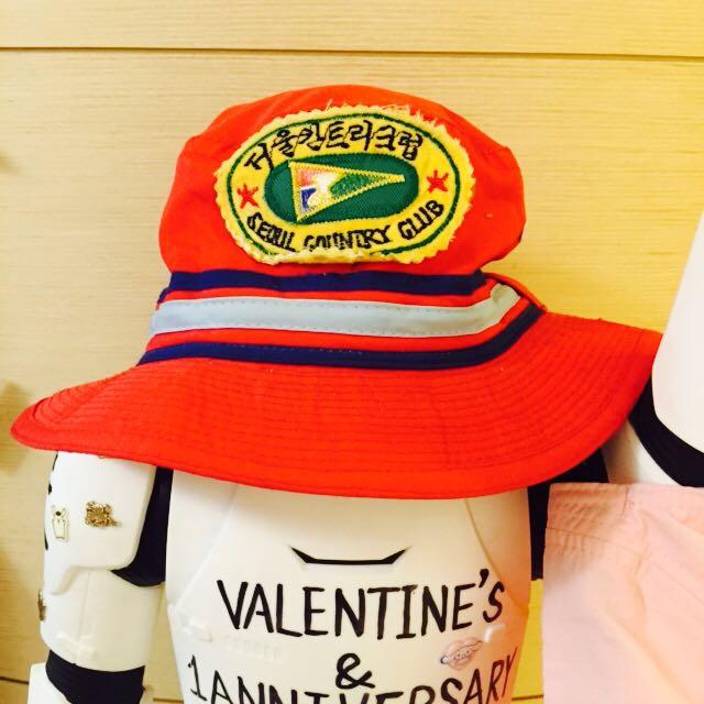 韓文紅色古著漁夫帽