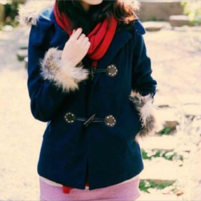 深藍色毛毛牛角釦大衣連帽外套
