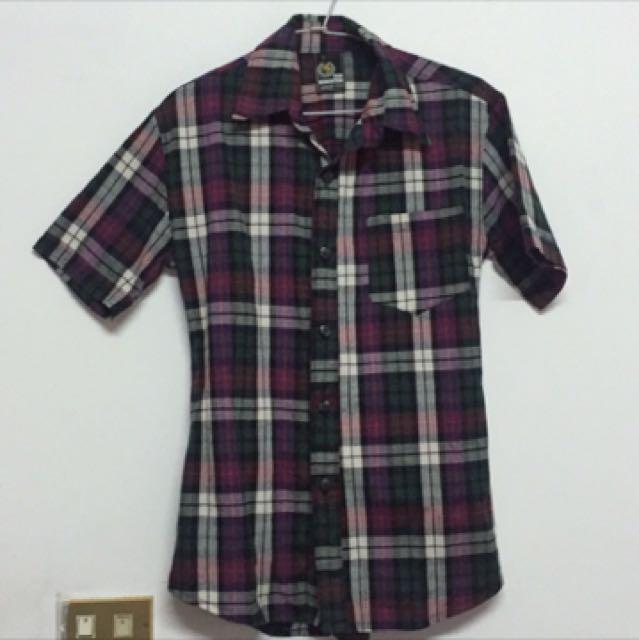 紫綠格紋短袖襯衫