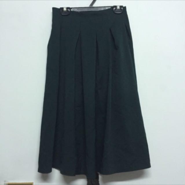 墨綠色百摺圓裙