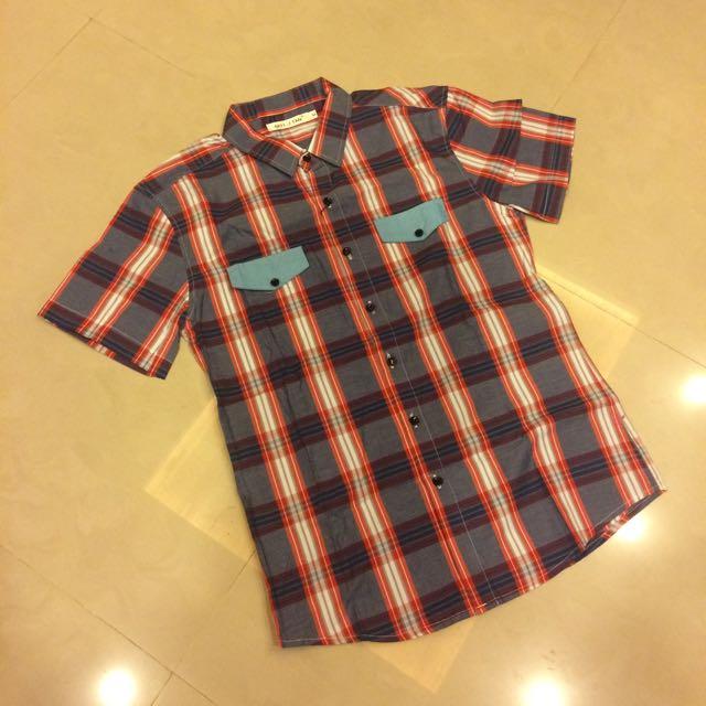 短袖格紋襯衫