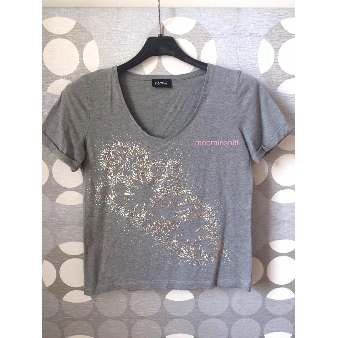二手 法國女裝品牌 KOOKAI 灰色V領短袖T恤