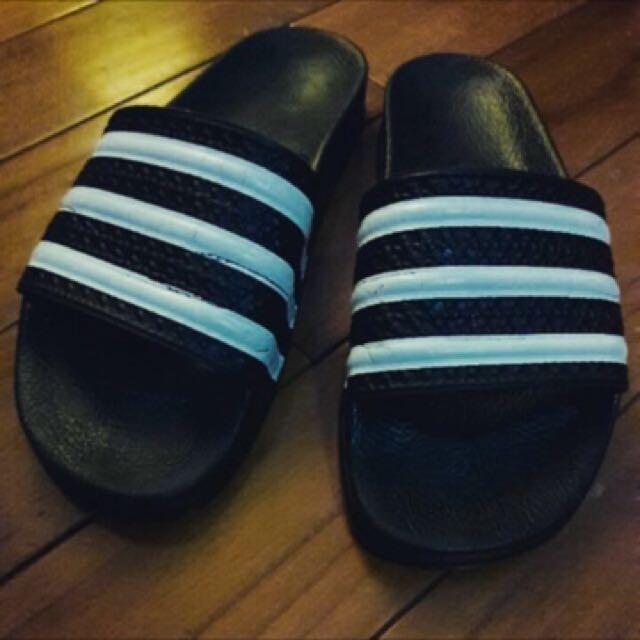 Adidas黑白條紋拖鞋涼鞋 女