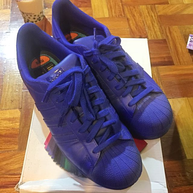 Adidas Superstar Sneakers Rubber Shoes Blue Sz 10.5 Pharrell Williams
