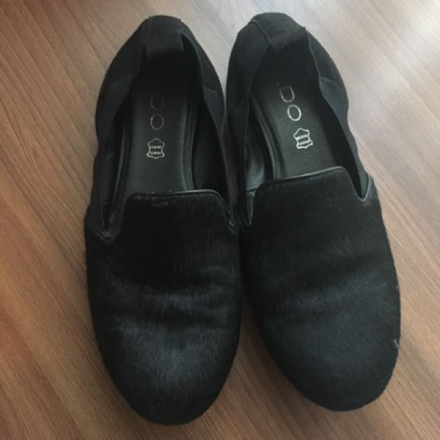 Aldo Flats With Faux Pony Hair in Black