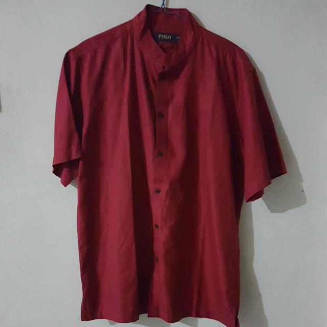Baju POLO merah Lengan Pendek Ukuran 15.5