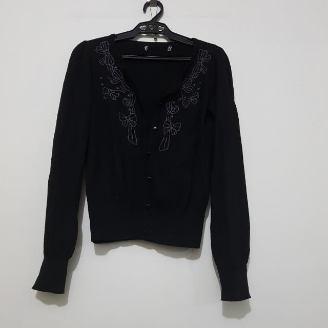 Black Cardigan/Sweater With Ribbon Details