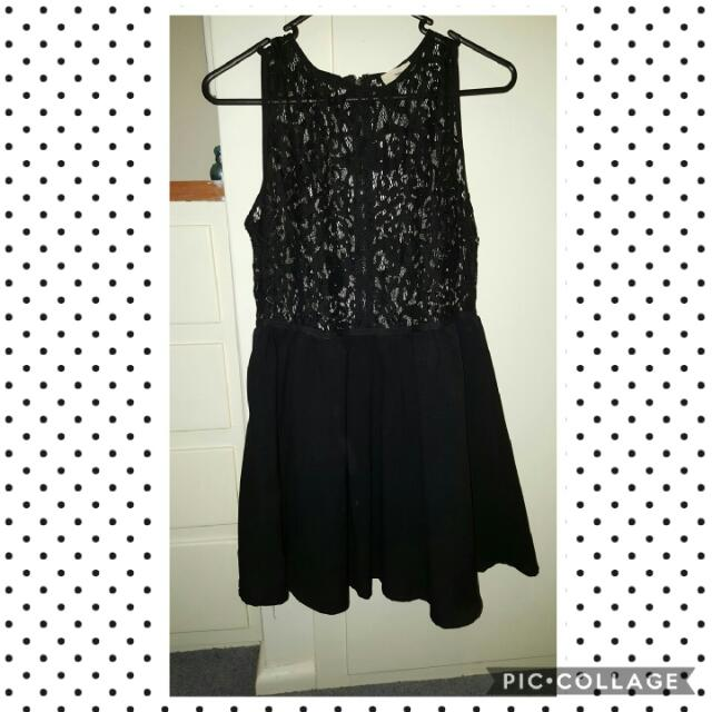 Black Lace Skater Skirt Dress