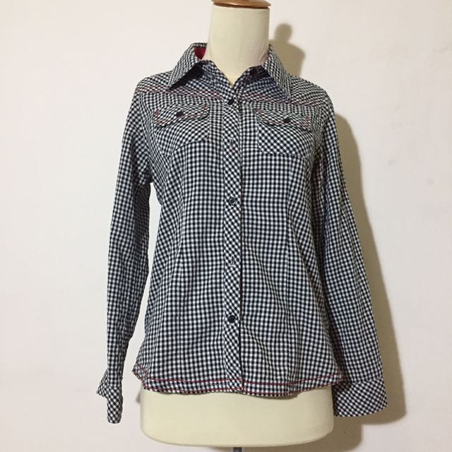 black tartan shirt