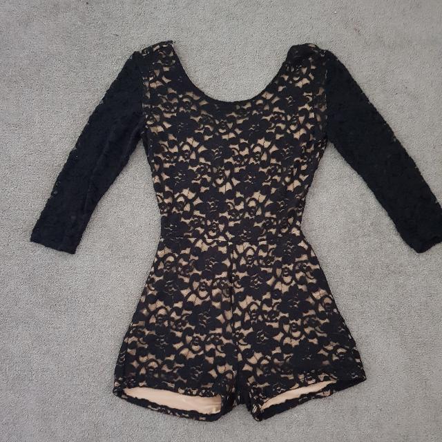 Black/Gold Lace Playsuit