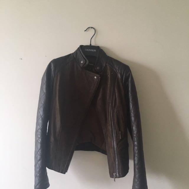Danier Brown Bomber Leather Jacket