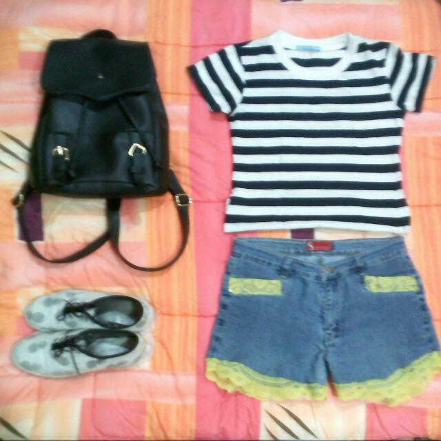 Denim Short & Shirt