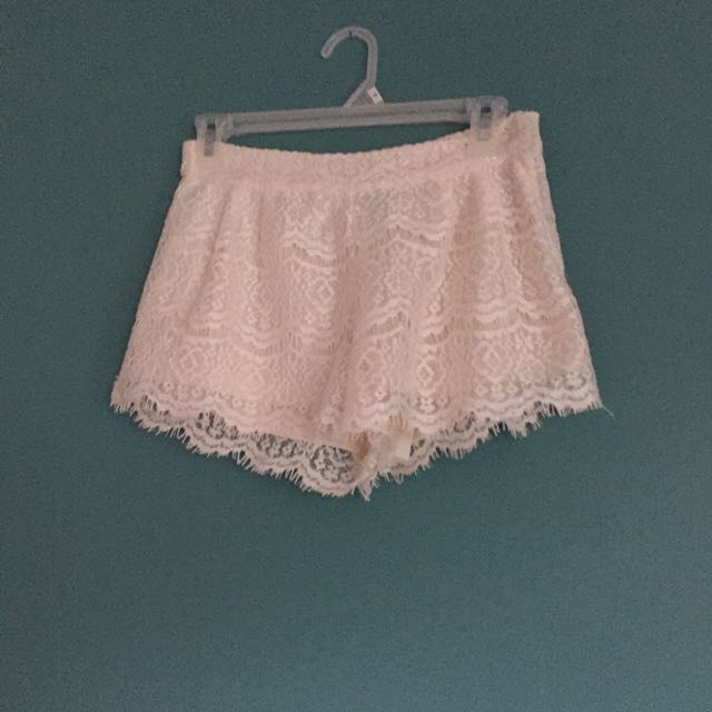 F21 White Lace Shorts