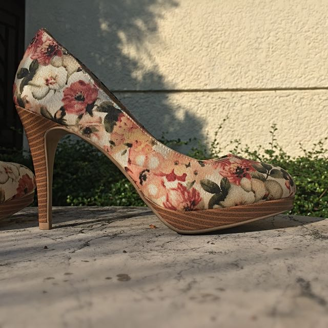 02d9db75d36 Repriced!! Floral Heels By Christian Siriano (Payless) on Carousell