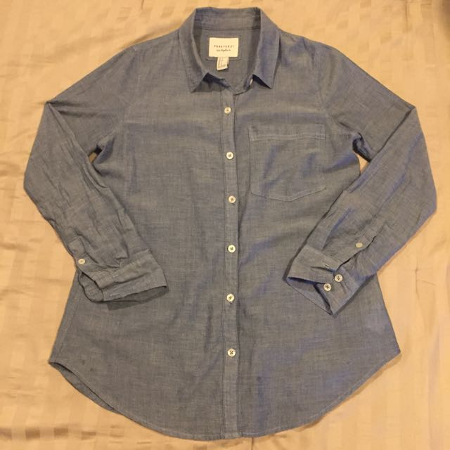 Forever 21 Denim Polo Long Sleeves