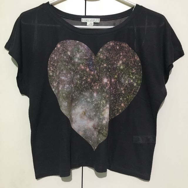 Forever 21 Starry Heart Cropped Top
