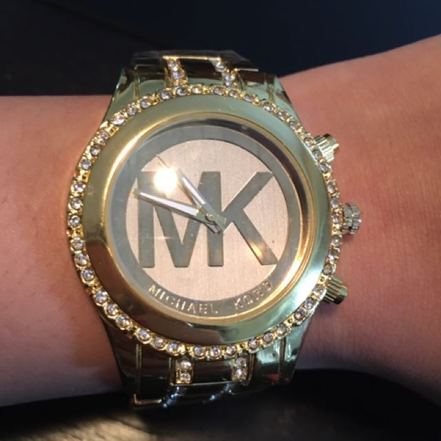 Gold And Crystal MK Watch