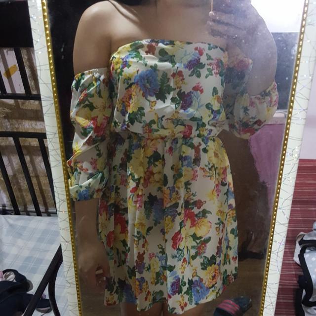 Green Floral Off Shoulder Dress