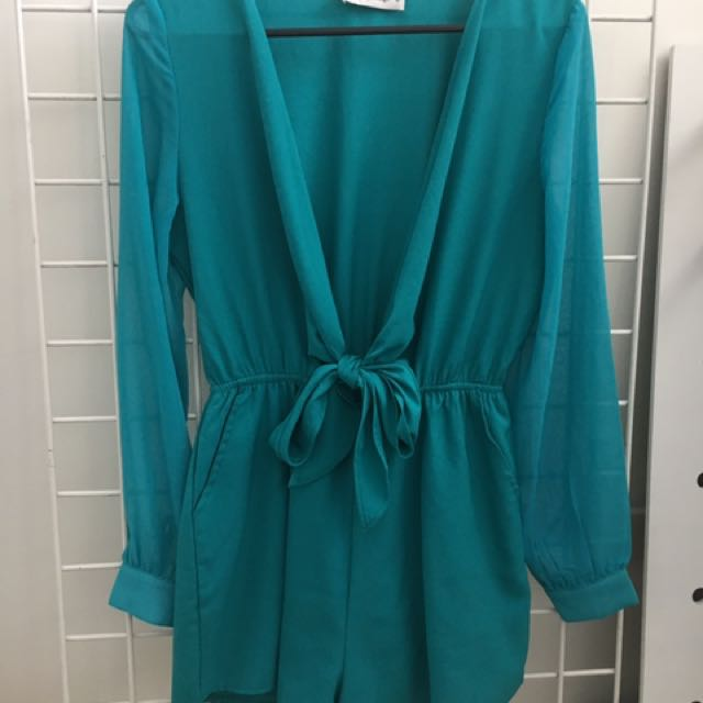 Green Tie Up Playsuit With Sheer Long Sleeves - Size 8