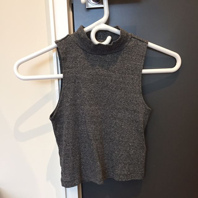 grey mock neck tank top