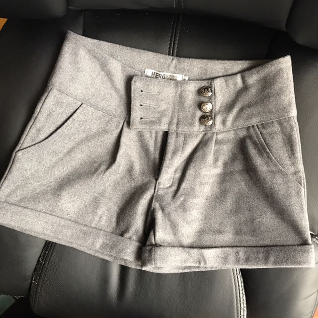 Grey Wool Like Shorts