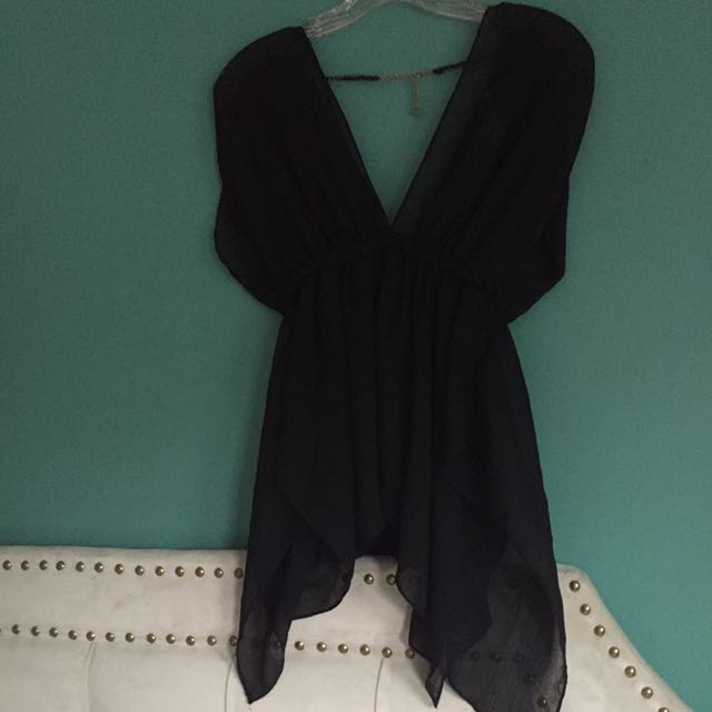 Guess Black Chiffon Sheer Shirt