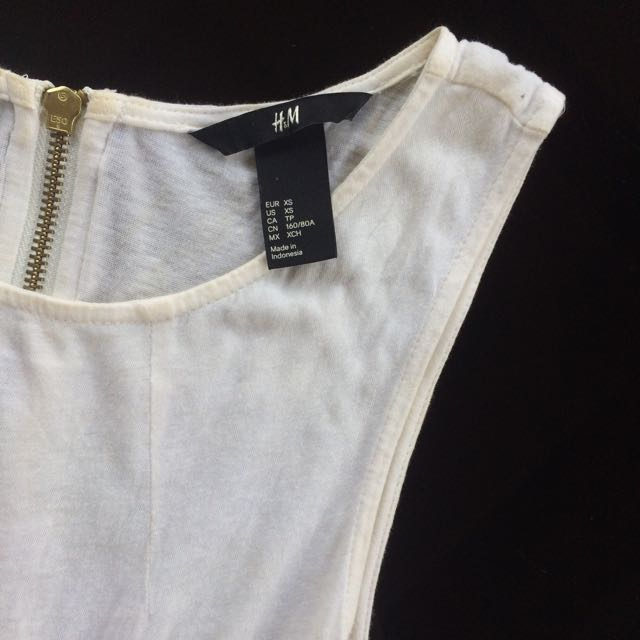 H&M Back Zipper White Dress