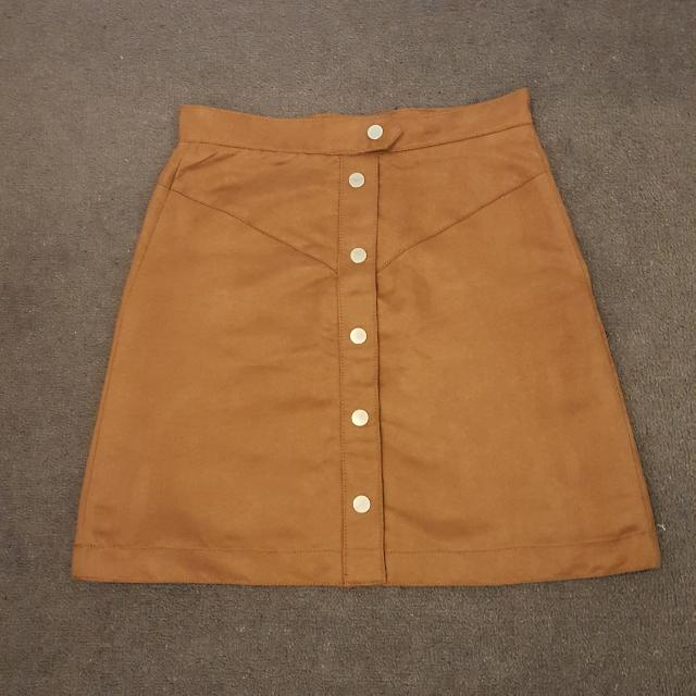 H&M Tan Button Down Suede Feel Skirt