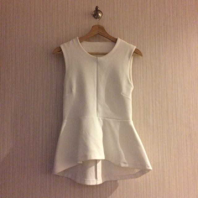 H&M White Sleeveless Peplum Shirt -