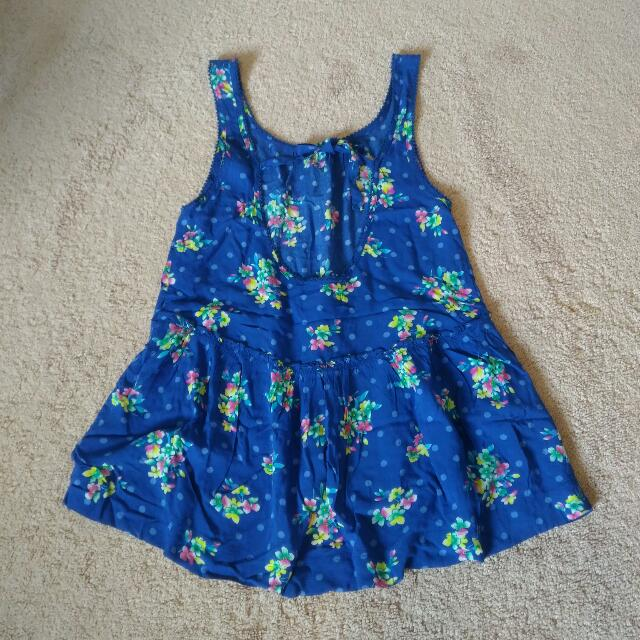 Hollister Blue Floral Tank Top - Size Small