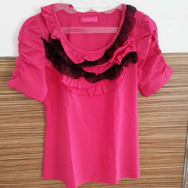 KARLIQUA Fushia Top With Black Lace