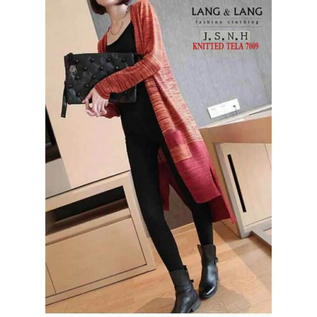 Korean 2-Tone Knitted Long Cardigan