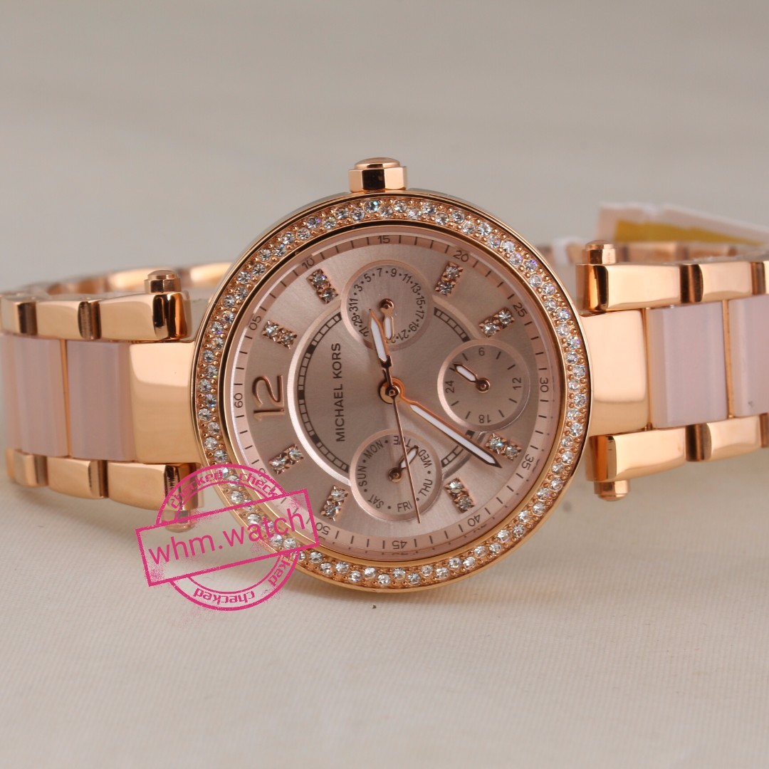 07b7571ebe03 ... Acetate Las Watch Mk6110. Michael Kors Parker Mini Multi Function Rose  Dial Gold Tone And