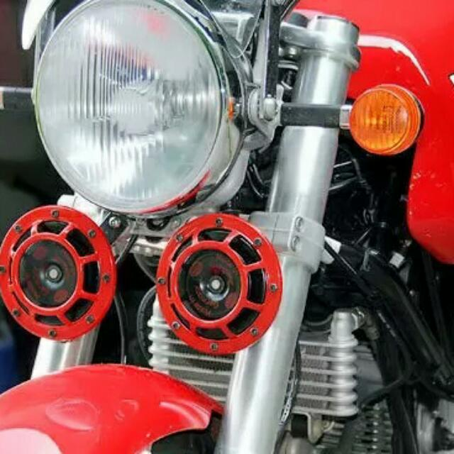 NEW Red Loud Horn Compact for Motorcycle Car Siren Dual Tone