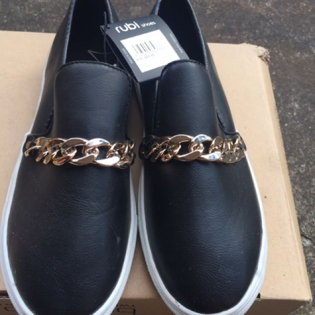 NEW Rubi SZ 38/7.5 Chain Detail Black Loafers / Slide Shoes