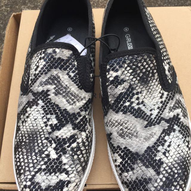 NEW Snakeskin Print Slide Loafers
