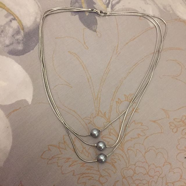 New Sterling Silver Snake Chain Trio Necklace